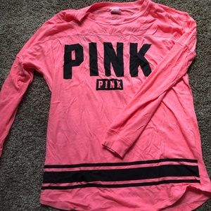 VS PINK pink long sleeve cut out shirt size small